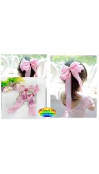 Hair Barrette - Korean Elegant Large Layered Pink Bow Barrette