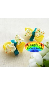 Clippies - Korean Yellow / Green Polka Dots Ribbon Double Layer Bow Clippies (1 pair)