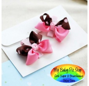 Clippies - Pink and Brown Polka Dots Ribbon Double Layer Bow Clippies (1 pair)