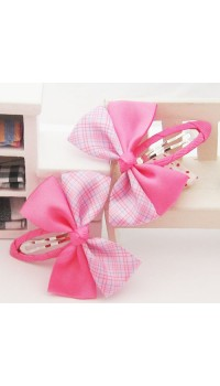 Clippies - Double Ribbon Pink Color Snap Clips (1 pair)