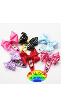 Clippies - Double Ribbon with Printed Small Polka Dots Design Snap Clips (1 pair)