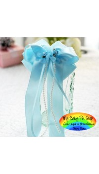 Hair Barrette - Korean Large Blue Layered Classic Bow Barrette
