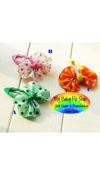 Clippies - Korean Polka Dots Classic Bow Snap Clips (1pair)