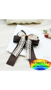Hair Barrette - Korean Brown Layered Classic Bow Barrette with Lace