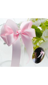 Hair Barrette - Korean Pink Layered Classic Bow Barrette with Lace