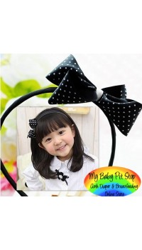 Aliceband - Black Polka Dot Elegant Bow Slim