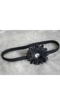 Small Daisy Baby Girl's Headband (Mystic Black)