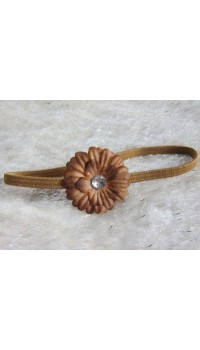Small Daisy Baby Girl's Headband (Cookies Brown)