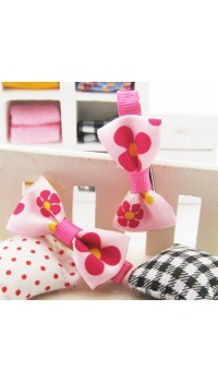 Clippies - Printed Colorful Ribbon Bow Clippies - Pink Flowers (1 pair)