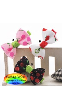 Clippies - Printed Colorful Ribbon Bow Clippies - Fruity (1 pair)