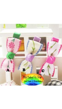 Clippies - Printed Colorful Ribbon Bow Clippies - Flower (1 pair)