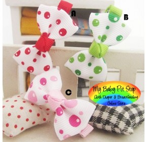 Clippies - Printed Colorful Ribbon Bow Clippies - Bubbles (1 pair)