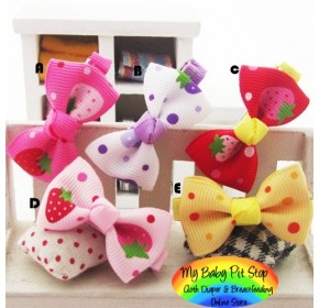 Clippies - Printed Colorful Ribbon Bow Clippies - Big Strawberries (1 pair)