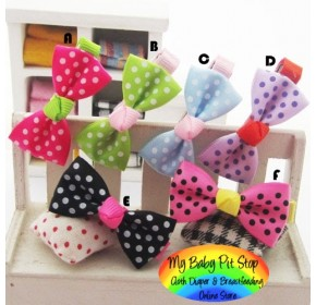 Clippies - Printed Colorful Ribbon Bow Clippies - Polka Dots (1 pair)