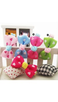 Clippies - Printed Colorful Ribbon Bow Clippies - Little Loves (1 pair)
