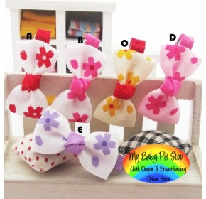 Clippies - Printed Colorful Ribbon Bow Clippies - Cute Flowers (1 pair)