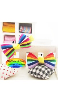 Clippies - Printed Colorful Ribbon Bow Clippies - Rainbow (1 pair)