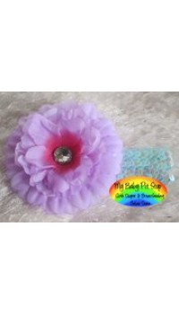 Girls Purple Flower w/Rhinestone Turquoise Sequins Headband