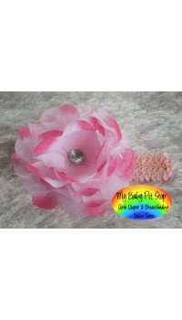 Girls 2-Tone Pink Flower w/Rhinestone or Black Sequins Headband