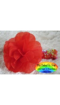 Girls Red Flower Sequins Headband