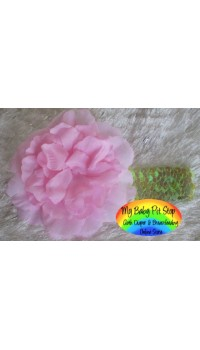 Girls Lite Pink Flower on Lite Green Sequins Headband