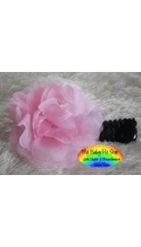 Girls Pink Flower on Black Sequins Headband