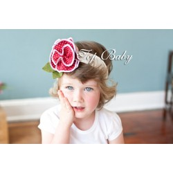 Top Baby Headband -  Red on White