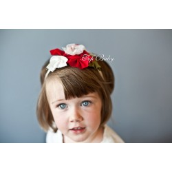 Top Baby Headband - Colorful Red on White
