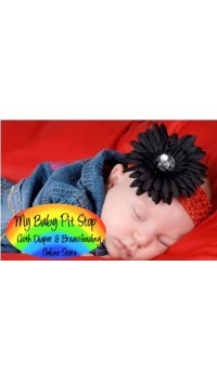 Gerber Daisy Flower Hairband (Black On Red)