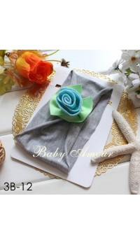 Top Baby Headband -Blue Rose on Grey