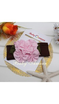 Top Baby Headband - Pink Big Flower on Brown