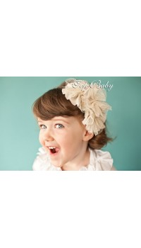 Top Baby Headband - White & Mesh