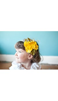 Top Baby Headband - Yellow on Grey