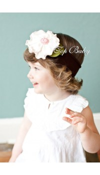 Top Baby Headband - Light Pink on Brown