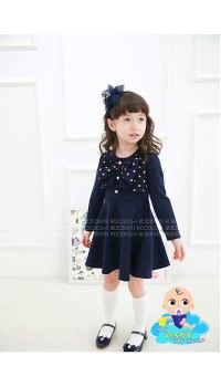Korean Cikicoko Girls Navy Bow Longsleeves Dress (3Y)