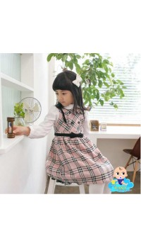 Korean Cikicoko Girls Pink Burberry Dress (2Y, 3Y, 4Y)