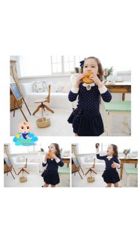 Korean Cikicoko Girls PolkaDot with Layer Skirt - Navy  (3Y, 4Y)