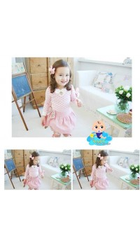 Korean Cikicoko Girls PolkaDot with Layer Skirt - PINK (4Y, 5Y)