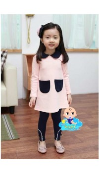 Korean Cikicoko Girls Peter Pan Collar Pink Dress w/Navy Legging (3Y, 4Y, 5Y, 6Y)