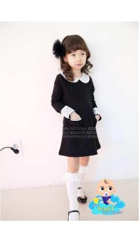 Korean Cikicoko Girls Peter Pan Collar Black Dress (4Y)