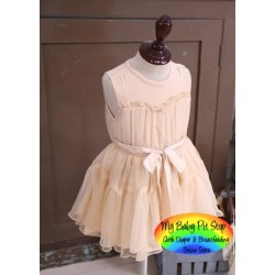 Korean A1Z9 Cream Dress with Ribbon (4Y, 5Y)