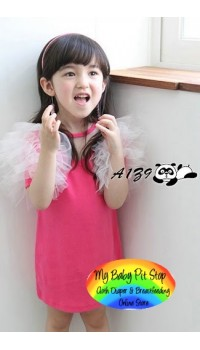 Korean A1Z9 Dark Pink Ruffle Sleeves Dress (2Y, 3Y, 4Y, 6Y)