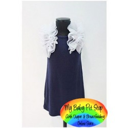Korean A1Z9 Dark Navy Ruffle Sleeves Dress (2Y, 7Y)