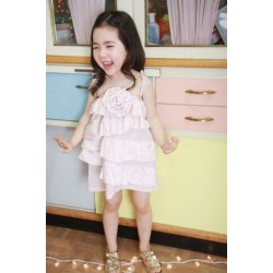 Korean A1Z9 Pink Flower Layer Dress with Rosetta (3Y, 4Y, 5Y, 6Y)