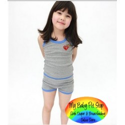 Korean A1Z9 Girlz Grey Tank + Shorts (2Y, 4Y, 5Y, 6Y)