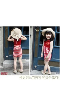 Korean Girls Red Color Collar Sleeveless Dress - (3Y, 4Y, 5Y, 6Y, 7Y)