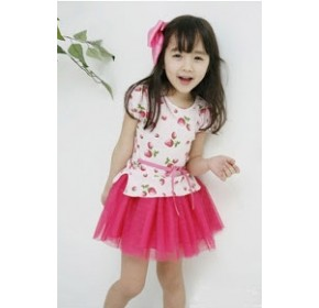 Korean B2W2 Strawberry Dress with Layered Bottom (7Y)