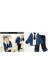 Amissa Boyz Smart 3pc set with Blue and Black Stripe (3Y, 5Y, 6Y, 7Y)