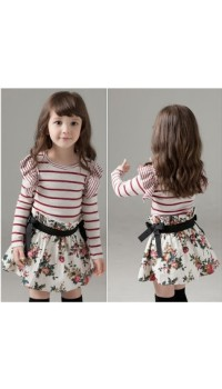 Korean Elegant Princess Sleeve One Piece Dress with Floral Skirt  - (3Y, 5Y, 6Y, 7Y)