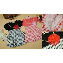 Korean B2W2 Checked Bubble Dress - BLACK **Free Pearl Necklace** (3Y, 4Y, 5Y, 6Y, 7Y)